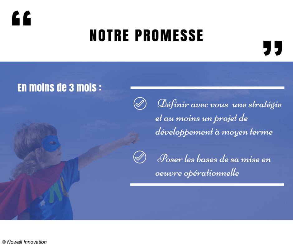 Notre promesse En moins de 3 mois, définir avec vous une stratégie et au moins un projet de développement à moyen terme et poser les bases de sa mise en oeuvre opérationnelle.